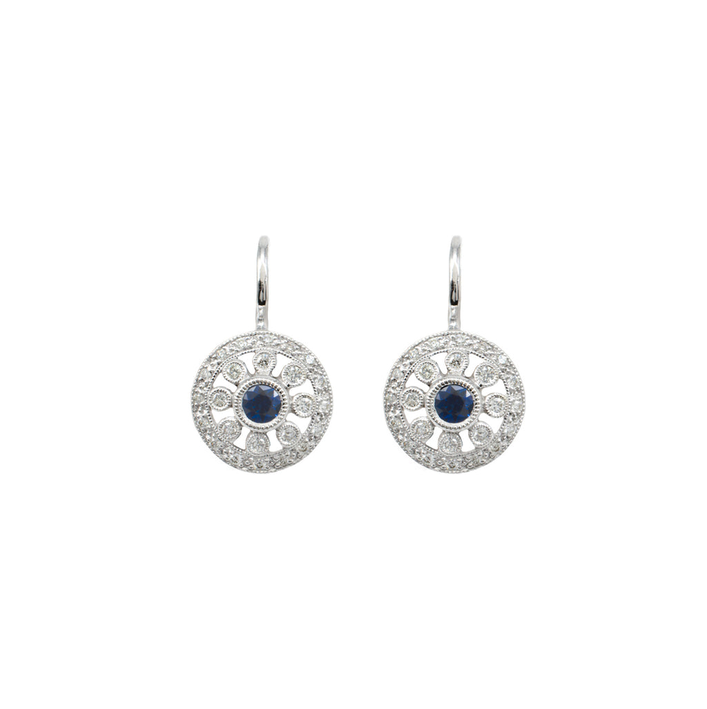 Sapphire & Diamond Circle Earrings