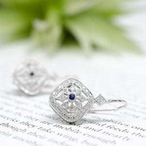 Diamond & Sapphire Cutout Earrings