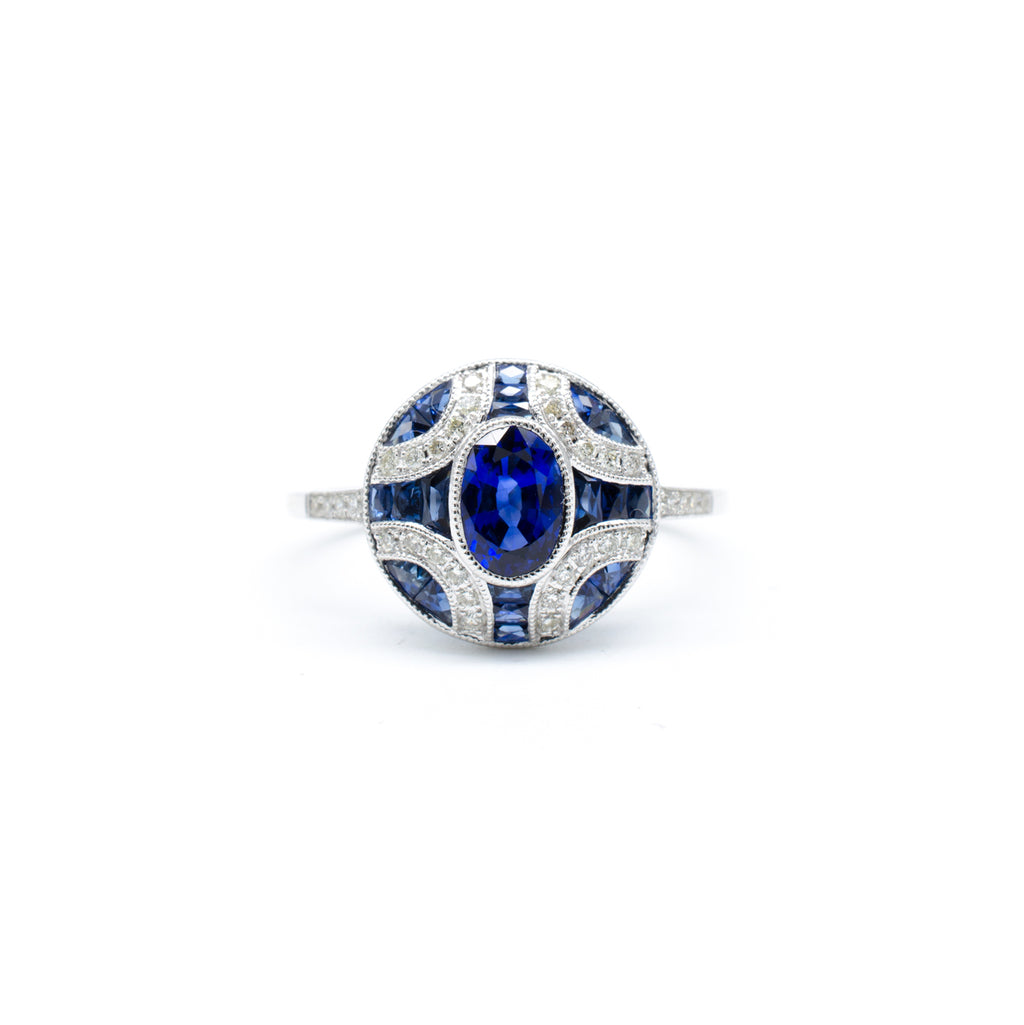 Sapphire Deco Ring