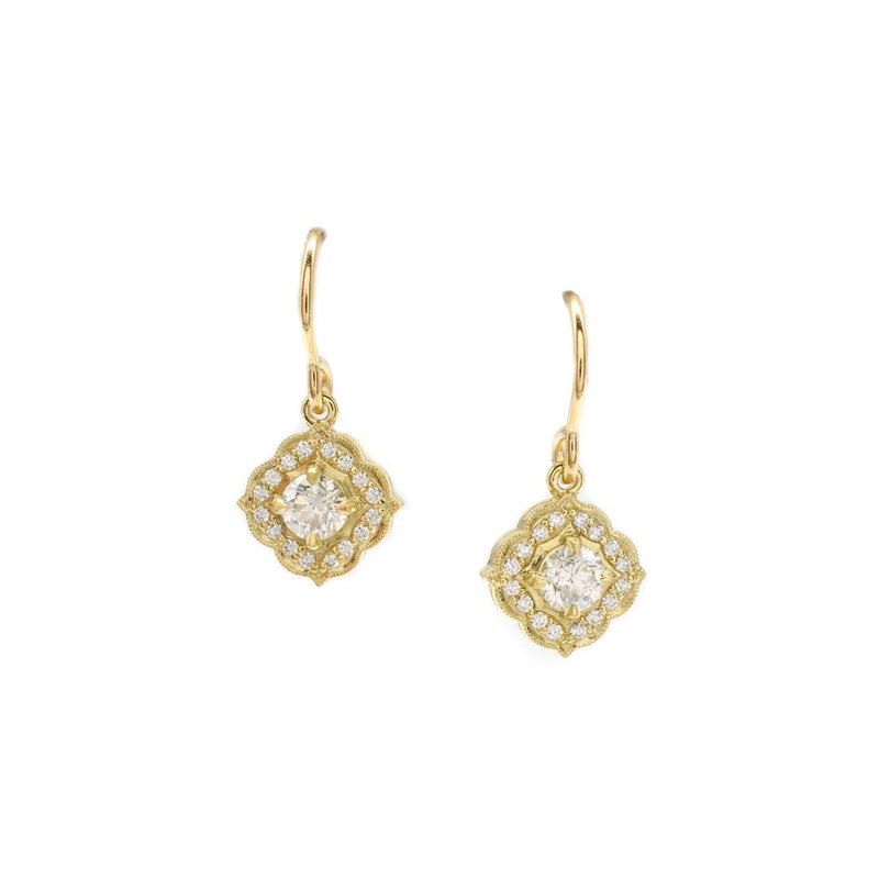 Scalloped Halo Dangles Yellow