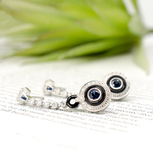 Sapphire, Onyx & Diamond Earrings