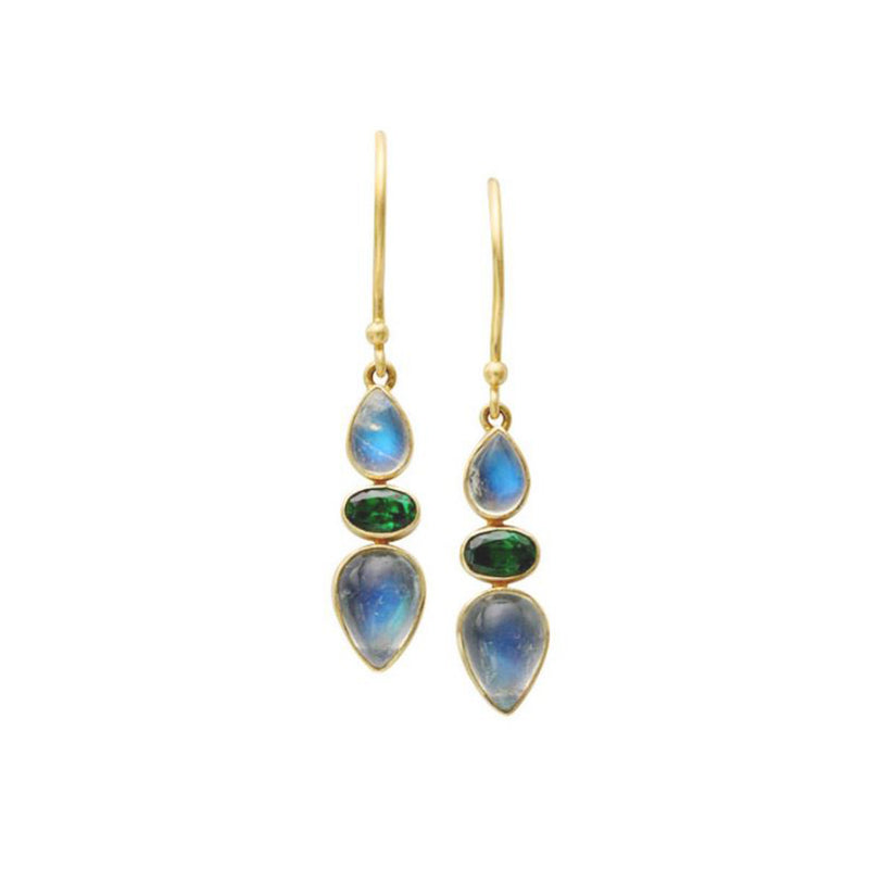 Moonstone & Tsavorite Triple Drops