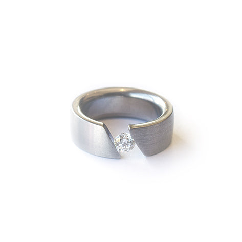 Steel Tension Set .33ct Diamond Ring