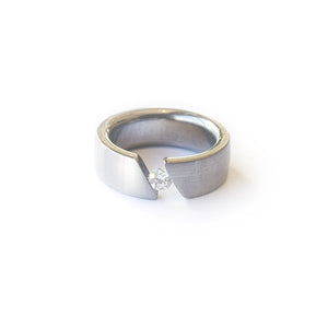 Steel Tension Set .25ct Diamond Ring