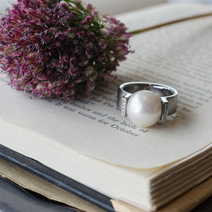 modern stainless steel pearl ring