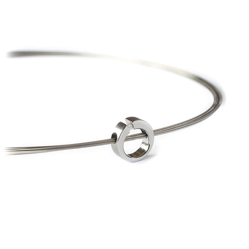 modern stainless steel diamond luna pendant