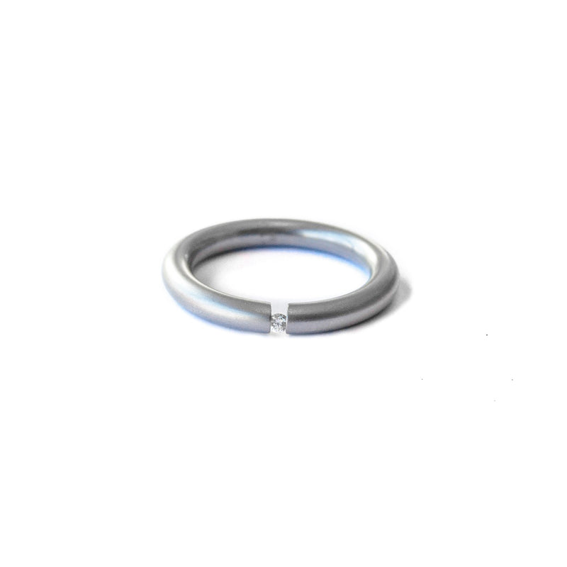 Modern stainless steel diamond ring