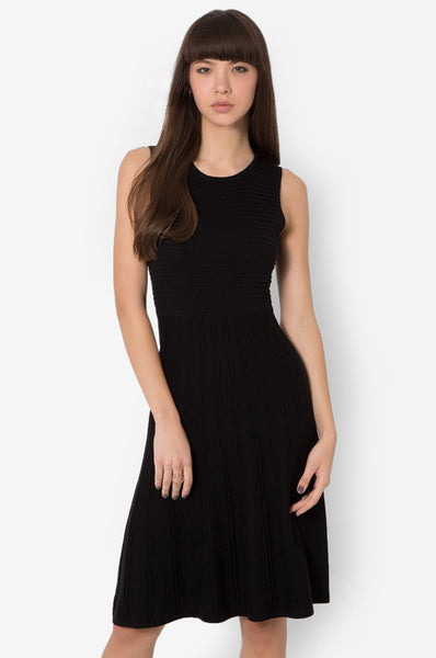 MODERN KNITS FLARE DRESS - BLACK - Easy-Care (New Arrival!)