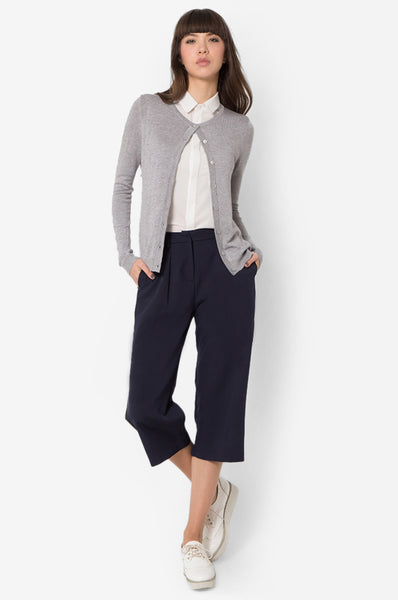CLASSIC CARDIGAN - LIGHT HEATHER GREY - Easy-Care (New Arrival!)