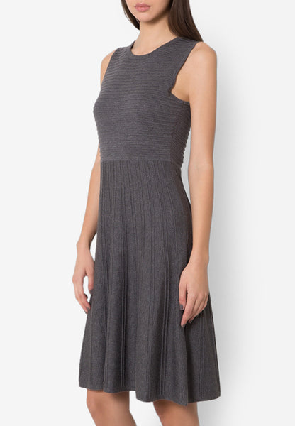 MODERN KNITS FLARE DRESS - DARK GREY - Easy-Care (New Arrival!)