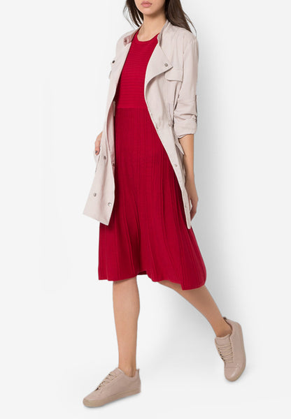 MODERN KNITS FLARE DRESS - RASPBERRY - Easy-Care (New Arrival!)