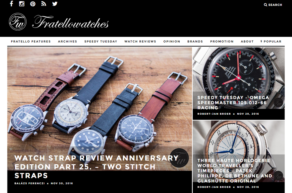Two Stitch Straps featured on Fratello watches