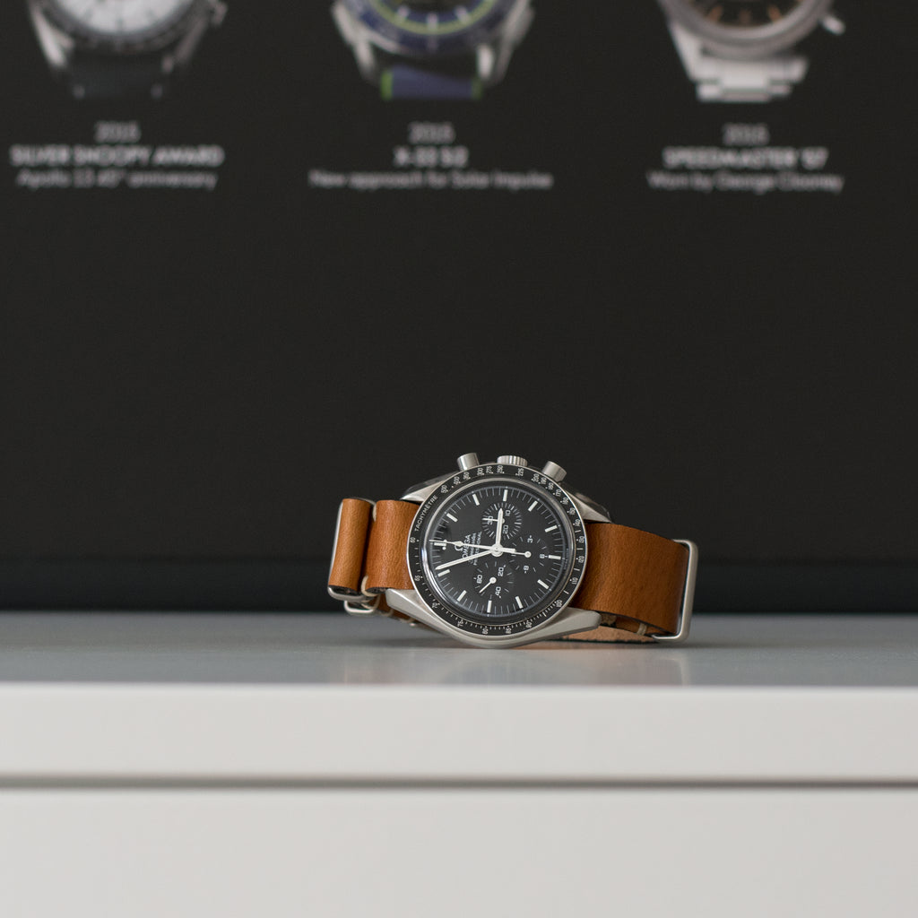 Caramel Leather NATO Watch Strap on Omega Speedmaster Professional