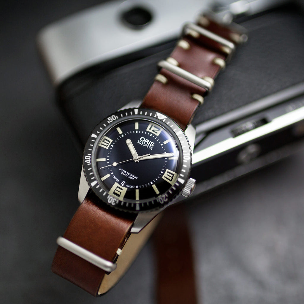 Chocolate Leather NATO Watch Strap on Oris 65