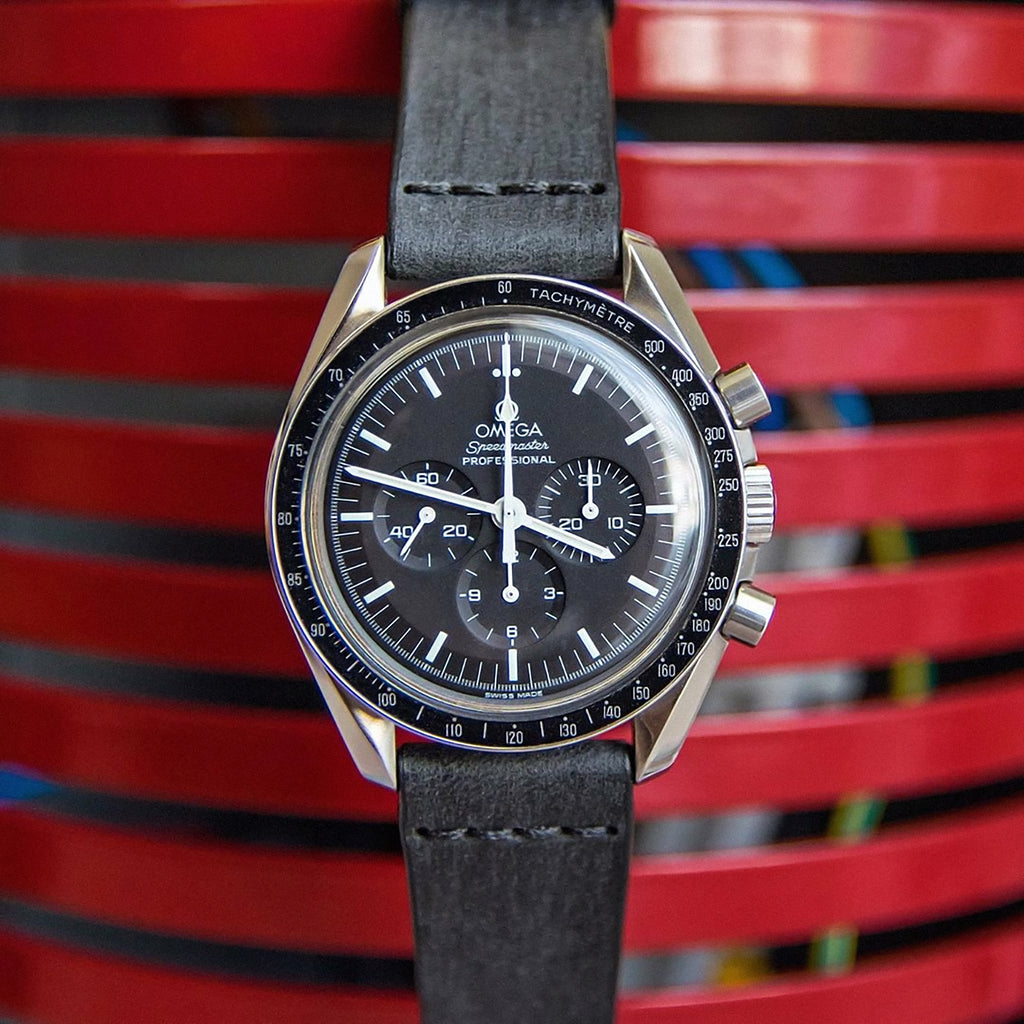 Cross-Stitch Coal Leather Watch Strap on Omega Speedmaster