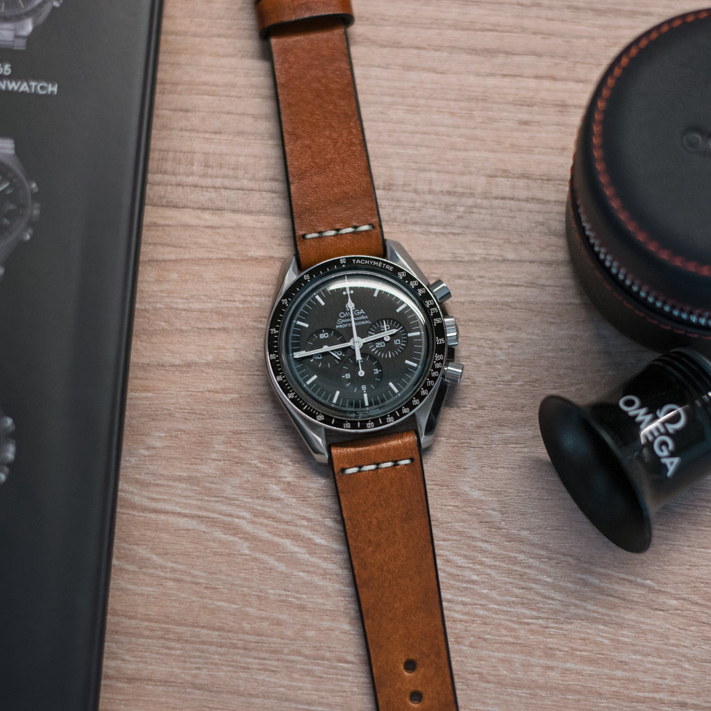 Cross-Stitch Honey Leather Watch Strap on Omega Speedmaster