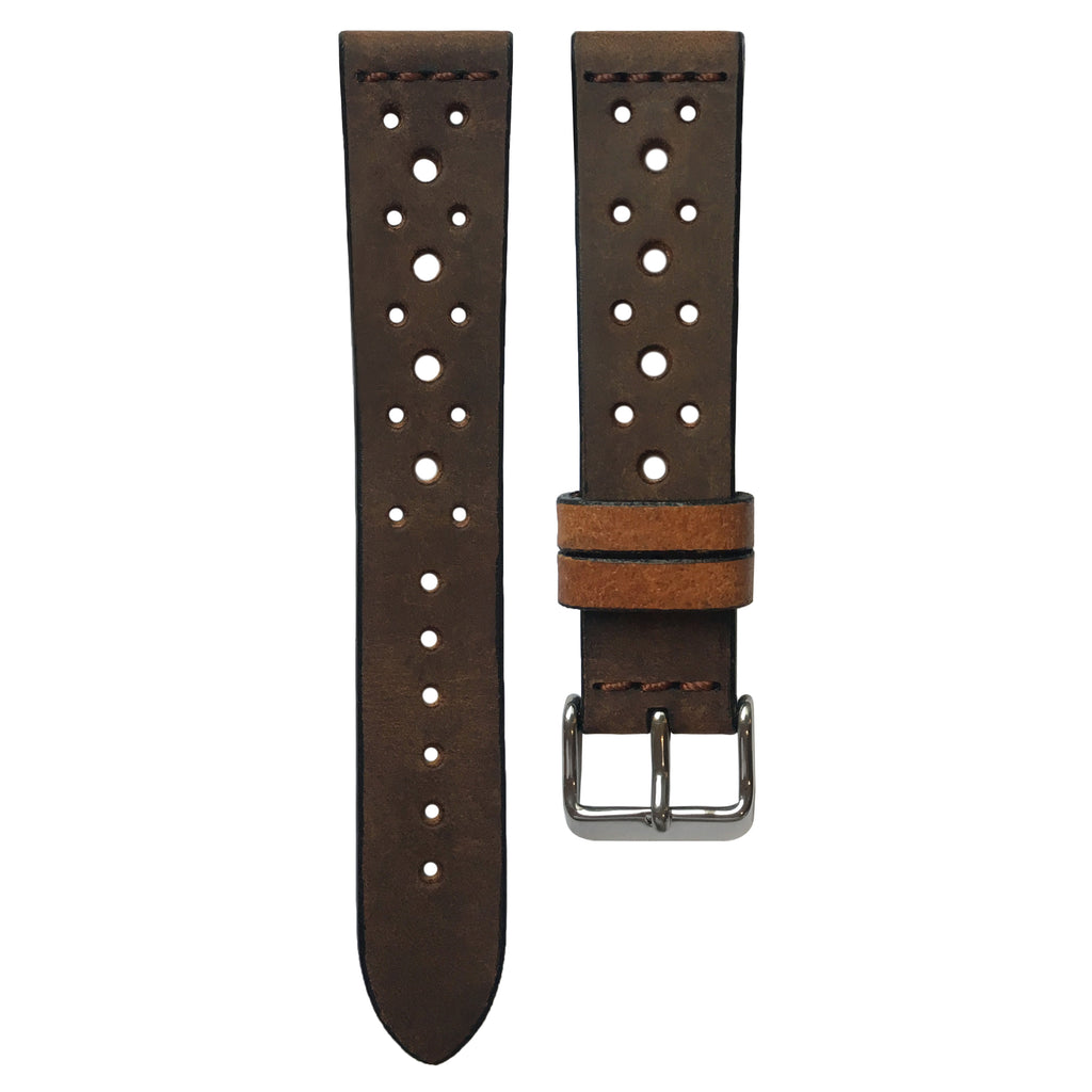 Cross-Stitch Leather Racing Coffee Numbered Edition Watch Strap