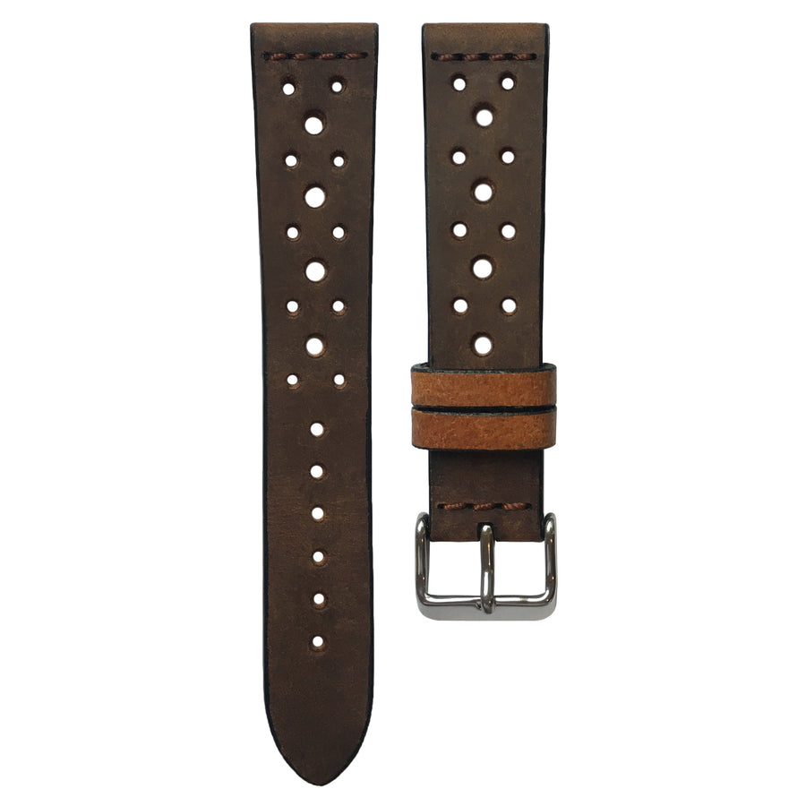 Cross-Stitch Racing Coffee Leather Watch Strap