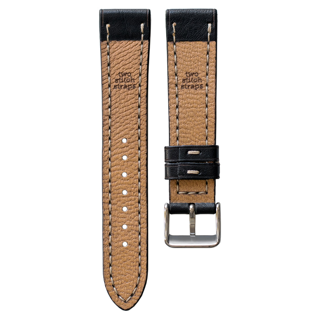 Full-Stitch Black Leather Watch Strap