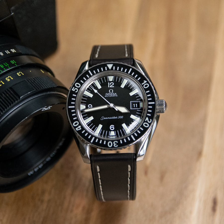 Full-Stitch Black Shell Cordovan Leather Watch Strap