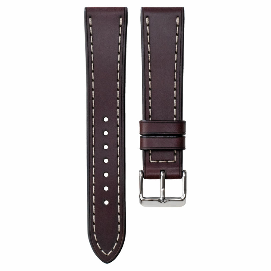 Full-Stitch Burgundy Shell Cordovan Leather Watch Strap
