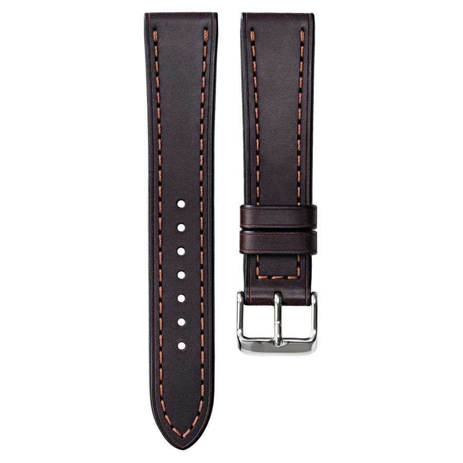 Full-Stitch Dark Brown Shell Cordovan Leather Watch Strap