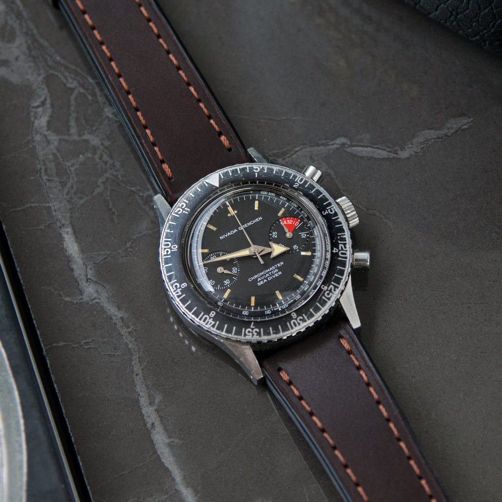 Full-Stitch Dark Brown Shell Cordovan Leather Watch Strap on Nivada Chronomaster