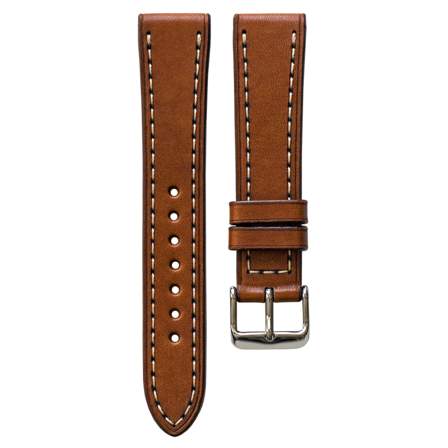 Full-Stitch Dark Tan Leather Watch Strap