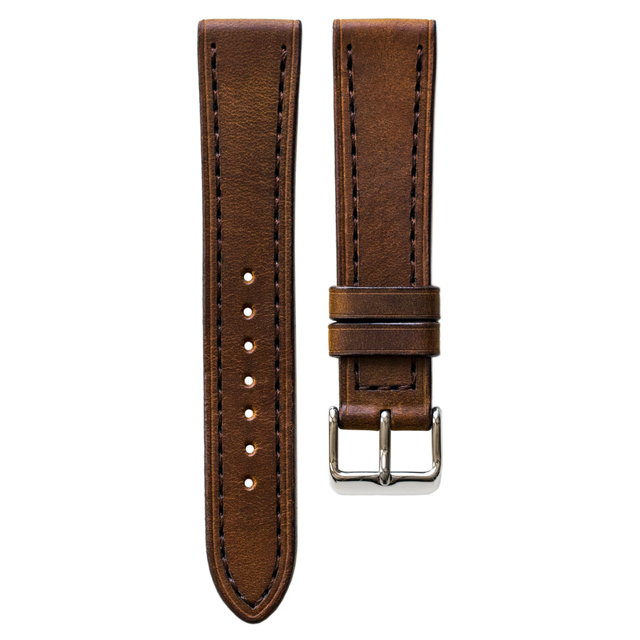 Full-Stitch Root Beer Leather Watch Strap