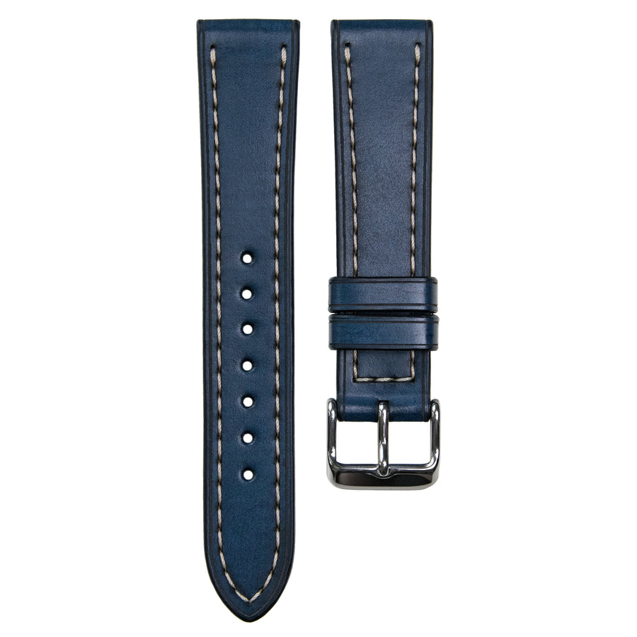 Full-Stitch Denim Blue Leather Watch Strap