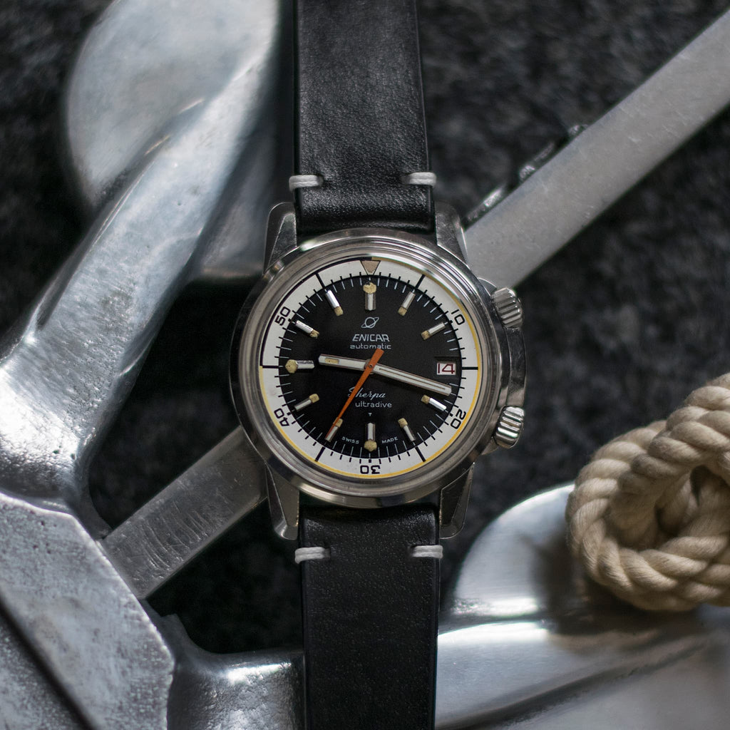 Two-Stitch Black Leather Watch Strap
