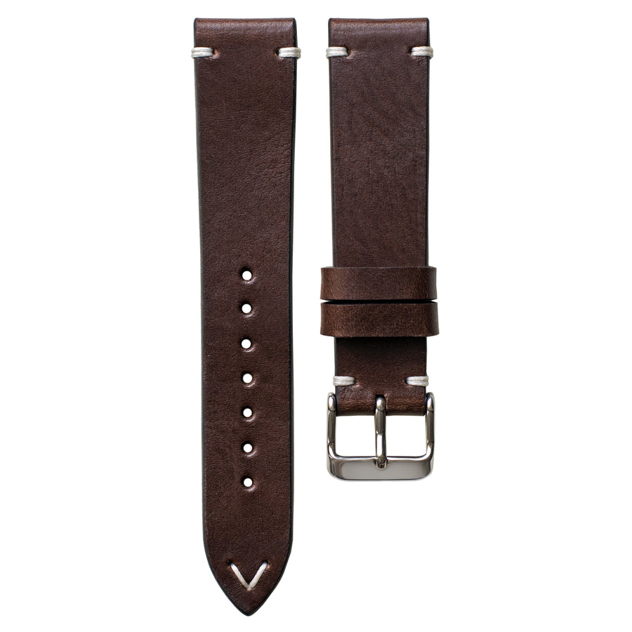 Two-Stitch Chocolate Leather Watch Strap
