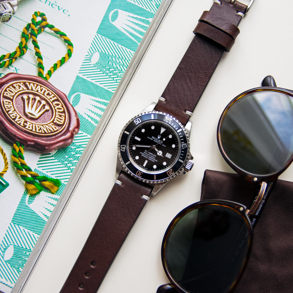 Two-Stitch Chocolate Leather Watch Strap on Rolex Sea-Dweller