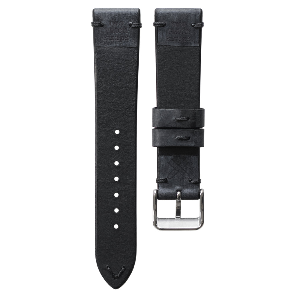 Two-Stitch Coal Leather Watch Strap