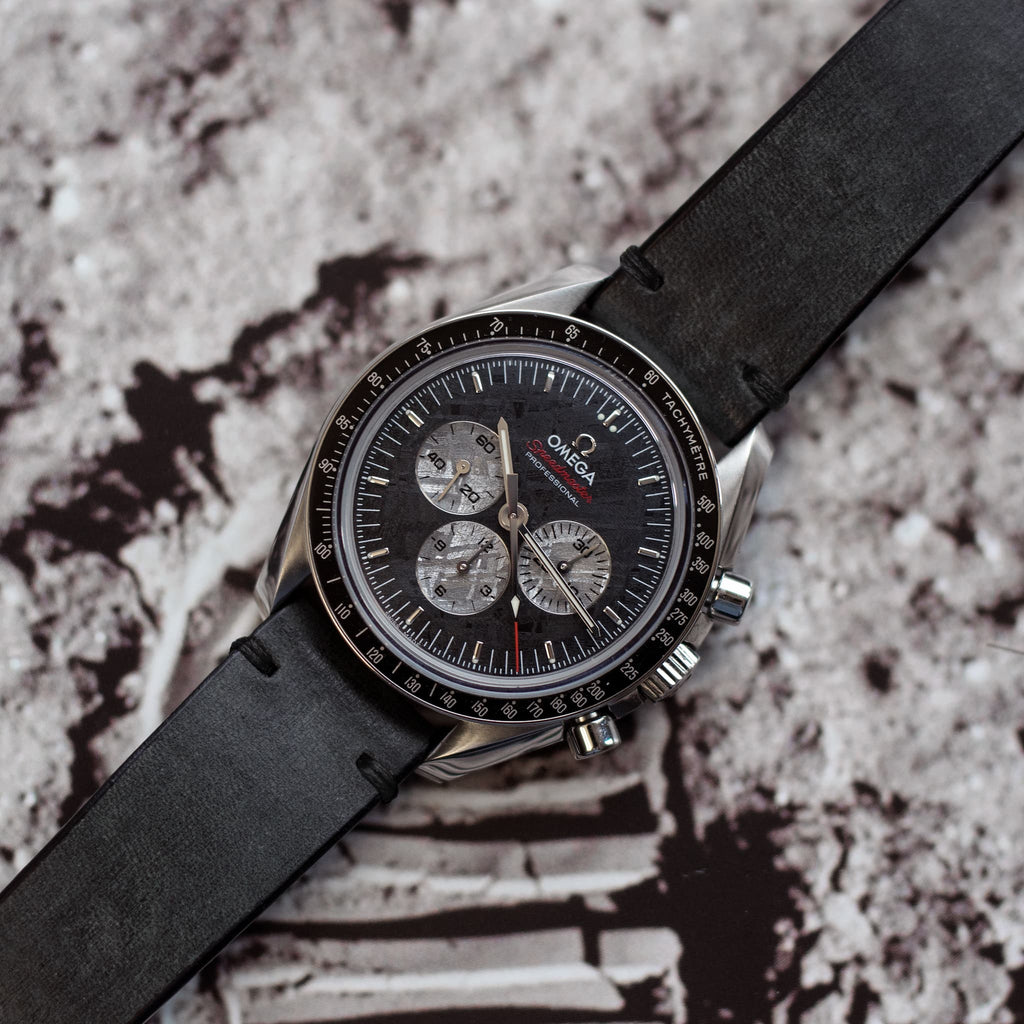 Two-Stitch Coal Leather Watch Strap on Omega Speedmaster
