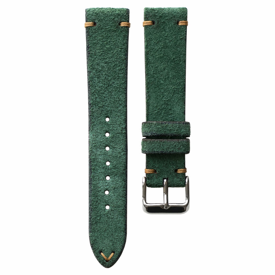 Two-Stitch Green Reversed Leather Watch Strap
