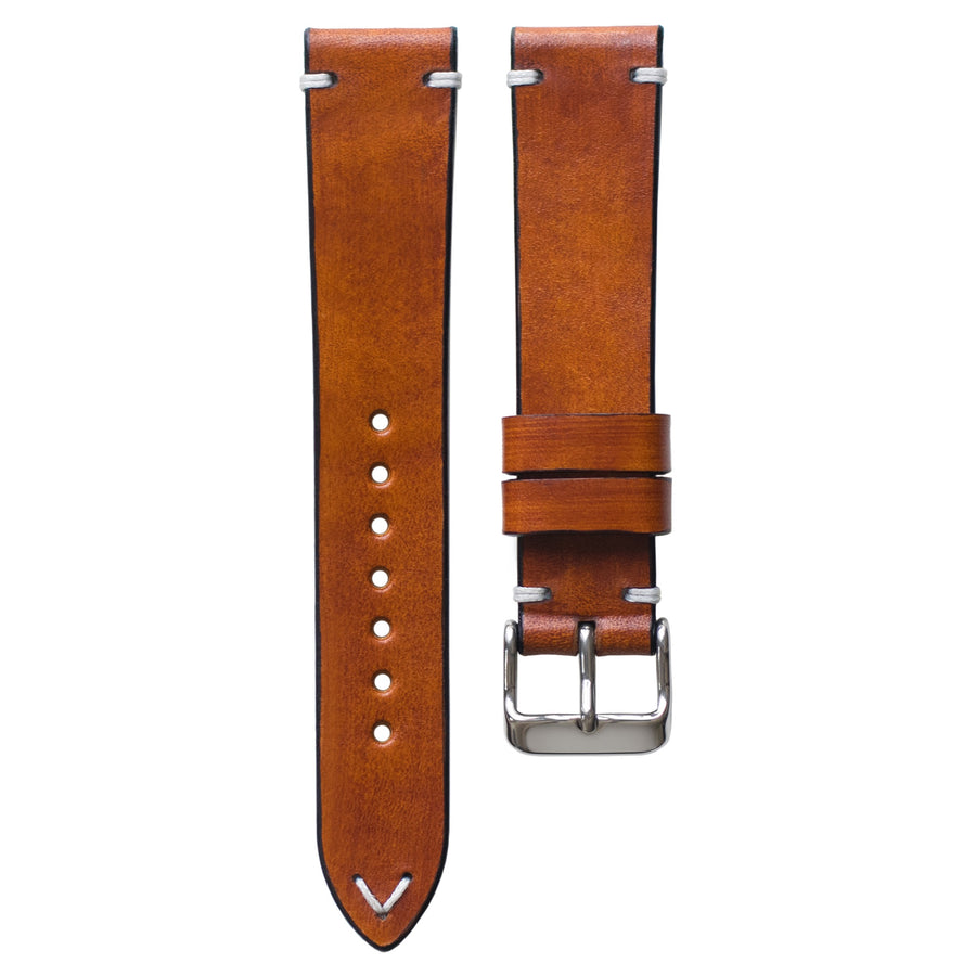 Two-Stitch Honey Leather Watch Strap