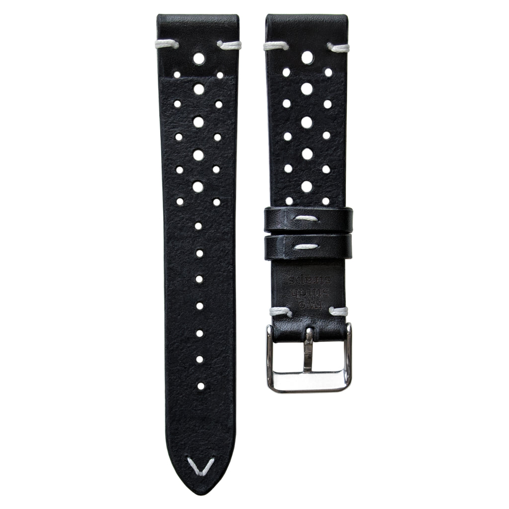 Two-Stitch Racing Black Leather Watch Strap
