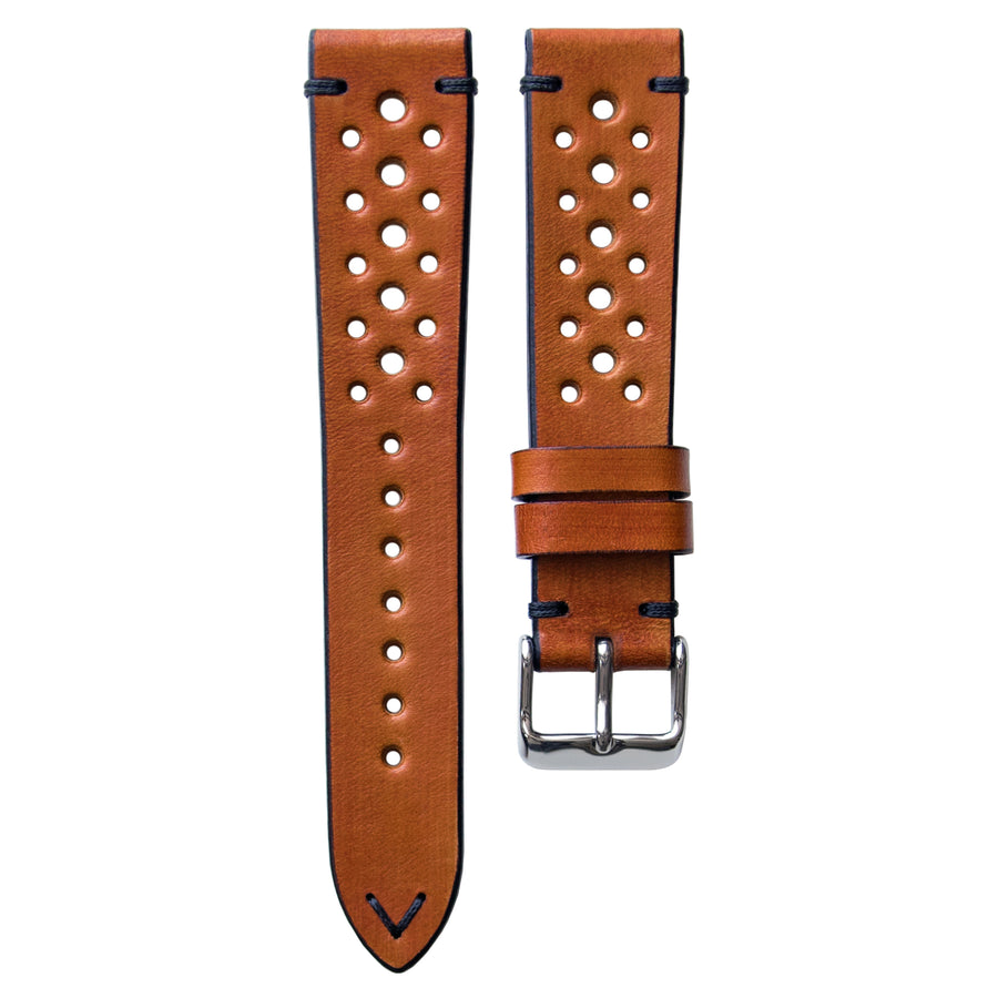Two-Stitch Racing Honey Leather Watch Strap