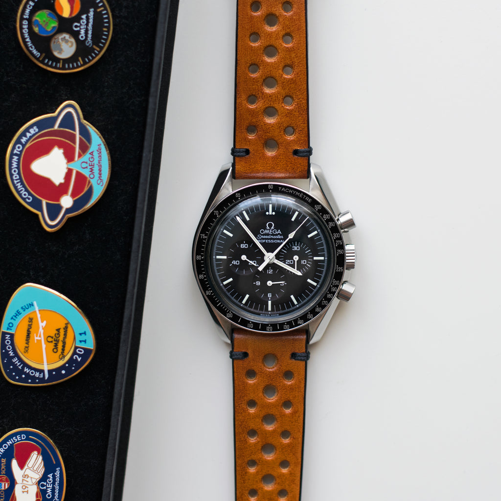 Two-Stitch Racing Honey Leather Watch Strap on Omega Speedmaster Professional