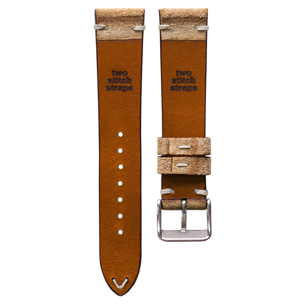 Two-Stitch Beige Reversed Leather Watch Strap
