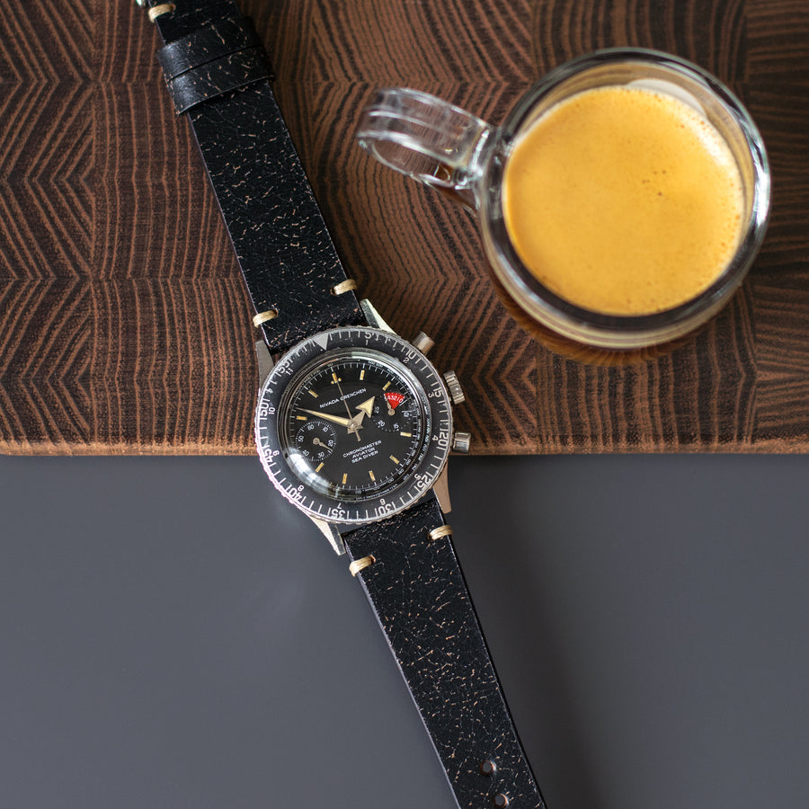 Two-Stitch Vintage Black Cracked Leather Watch Strap
