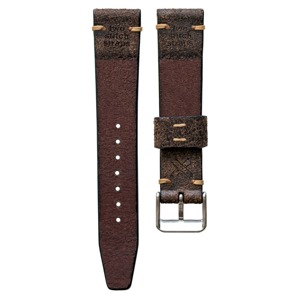 Two-Stitch Vintage Buffalo Leather Watch Strap