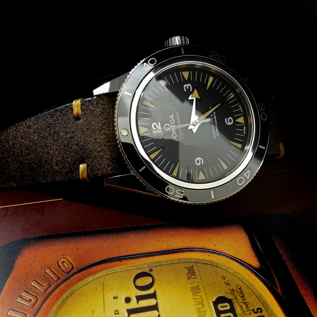 Two-Stitch Vintage Buffalo Leather Strap on Omega Seamaster 300