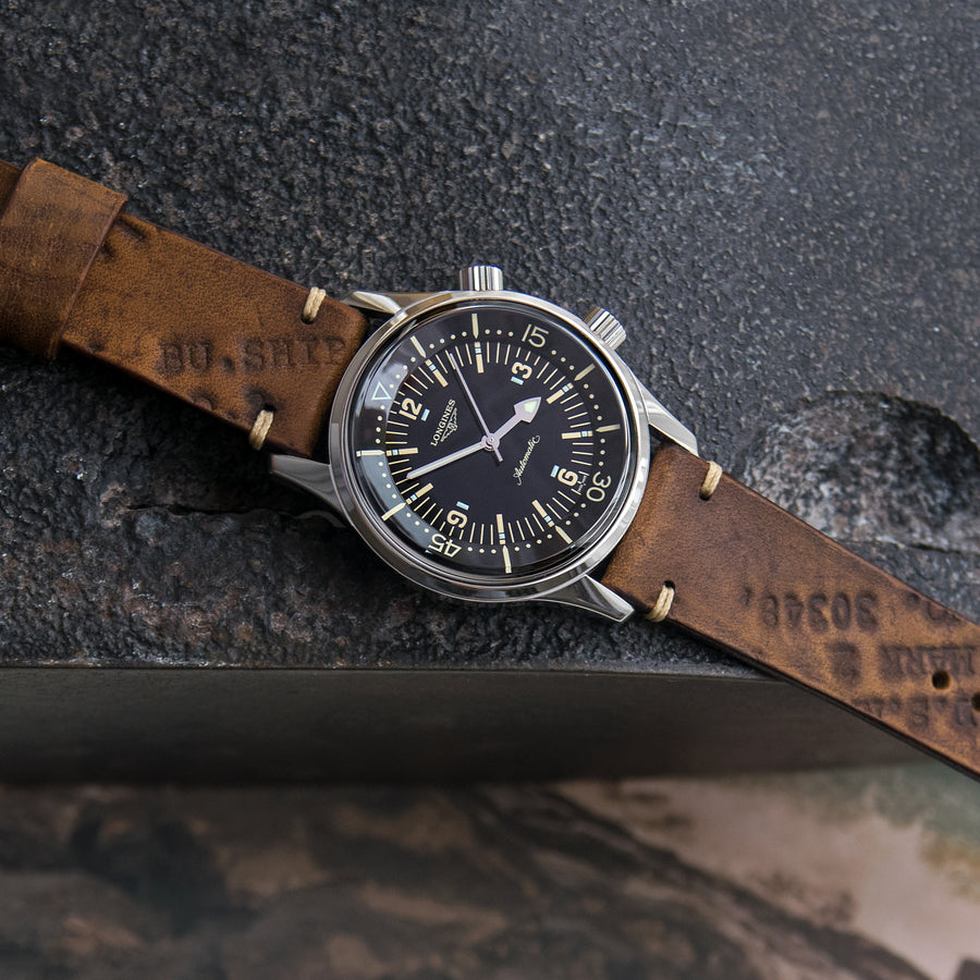 Two-Stitch Vintage Oak Leather Watch Strap