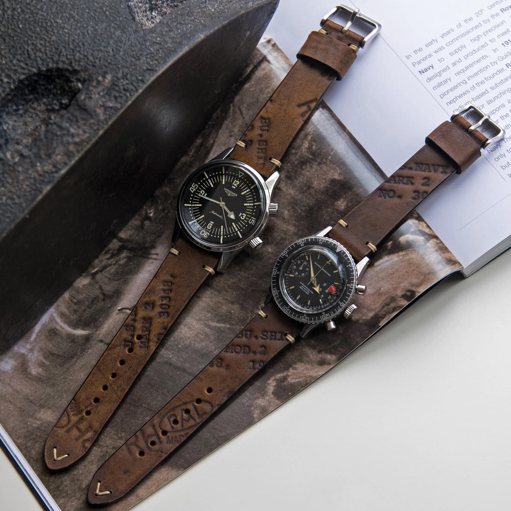 Two-Stitch Vintage Oak Leather Watch Strap on Longines Legend Diver and Nivada Chronomaster