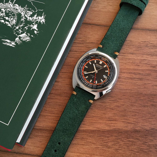 Green Two-Stitch handmade leather watch strap