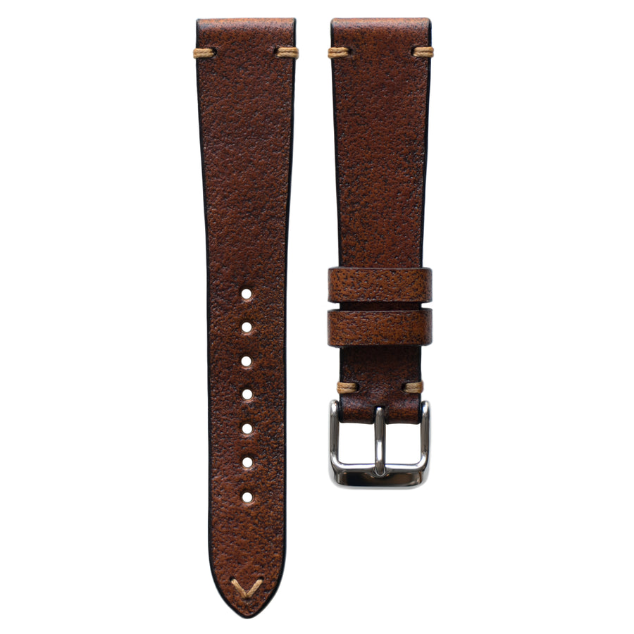 Two-Stitch Vintage Cognac Leather Watch Strap