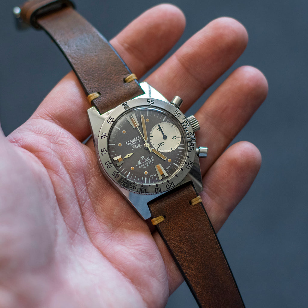 Two-Stitch Vintage Leather Cognac strap on Aquastar Deepstar chronograph