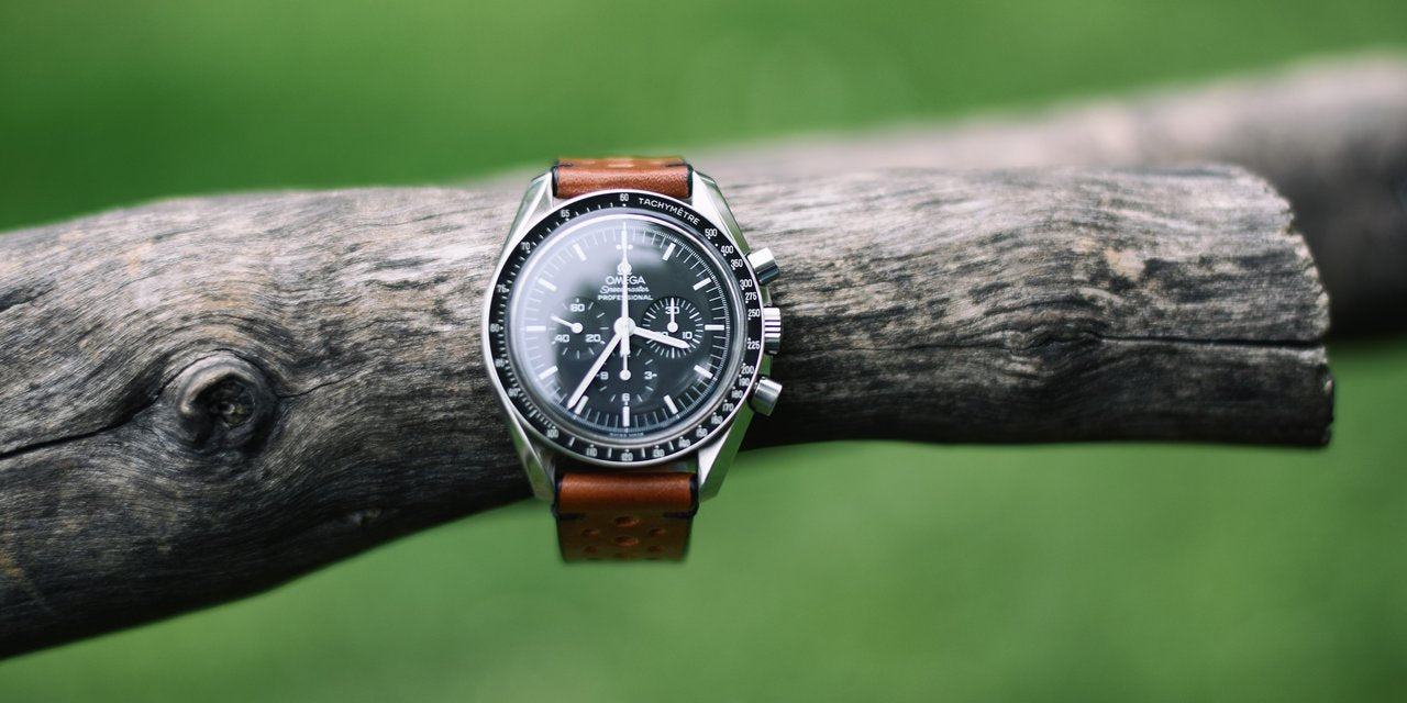 Omega Speedmaster on handmade Two-Stitch Leather Racing Black strap